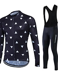 fastcute Cycling Jersey with Bib Tights Women's Men's Unisex Long Sleeve BikeFleece Jackets Jersey Tights Bib Tights
