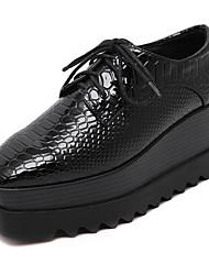 Women's Shoes Four Season Platform Creepers Lace-up Square Toe Black Shoes