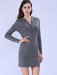 Women's Going out / Formal / Work Vintage / Simple Sheath DressSolid Hooded Above Knee Long Sleeve