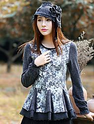 Mujer Regular Pullover Noche Vintage,Floral Gris Cuello Barco Manga Larga Lana / Poliéster / Licra Primavera / Otoño Medio Microelástico