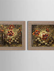 2 Panel Wall Art Pictures Oil Painting On Linen Home Decoration Abstract Flower Artwork Decor Painting With Frame