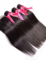 8A Indian Virgin Hair With Closure Indian Straight With Closure 3 Bundles Human Hair Weave With Lace Closure