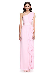 Lanting Bride® Floor-length Chiffon Bridesmaid Dress - Elegant Sheath / Column One Shoulder with Ruffles / Sash / Ribbon