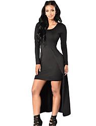 Women's Front Split Long Sleeve Maxi Dress