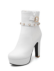 Women's Zipper Round Closed Toe High Heels Pu Low Top Boots with Jewels