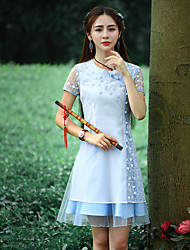 Gaine Robe Femme Sortie Chinoiserie,Broderie Col Arrondi Au dessus du genou Manches Courtes Blanc Polyester Eté Taille NormaleNon