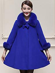 Mulheres Casaco Casual / Tamanhos Grandes Simples Inverno,Sólido Azul / Amarelo Lã / Pêlo Sintético Decote Redondo-Manga Longa Grossa
