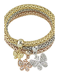 Elastic Multicolors Chain Bracelets with Rhinestone Butterfly Charms