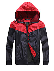 Men's Long Sleeve Casual  Work Cotton Color Stitching Hooded  Jacket  Coat
