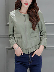 Women's Street chic / Sophisticated Fall / Winter Leather JacketsSolid Crew Neck Long Sleeve Green PU