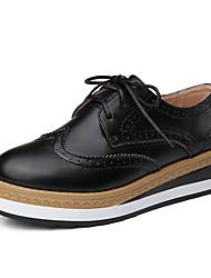 Для женщин Туфли на шнуровке Кожа Осень Повседневные Шнуровка На платформе Черный Коричневый 2,5 - 4,5 см