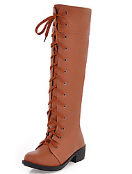 Women's Shoes Chunky Heel Round Toe Lace Up Knee High Boot More Color Available