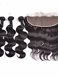 Lace Frontal Closure With Bundles Indian Virgin Hair Body Wave Hair Wefts With 13x4 Bleached Knots Frontal