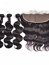 Trame cheveux avec fermeture Cheveux Indiens Ondulation naturelle 4 Pièces tissages de cheveux