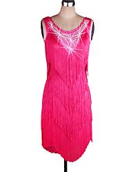 Latin Dance Dresses Women's Performance Spandex / Organza Tassel 1 Piece Blue / Fuchsia / Green / Purple / Red / Royal