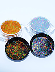 2colors/set 0.05mm Holographic Silver & Gold Glitters Nail Laser Sequins Nail Paillettes Hologram Glitter