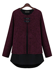 Damen Patchwork Retro Lässig/Alltäglich / Übergröße T-shirt,Rundhalsausschnitt Alle Saisons Langarm Rot / Grau Polyester Mittel