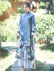 Ramie Cotton Women's Casual/Daily Chinoiserie Loose DressFloral Stand Knee-length Long Sleeve Blue Silk / Linen