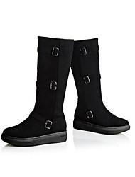 Damen-Stiefel-Outddor-PU-Keilabsatz-Modische Stiefel-Schwarz / Grau