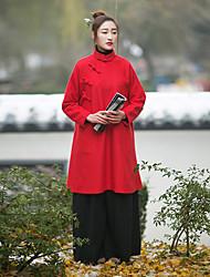 Ample Robe Femme Décontracté / Quotidien Vintage,Couleur Pleine Mao Mi-long Manches Longues Rouge Autres Automne / Hiver Taille Normale