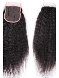 4*4 Brazilian Virgin Hair Kinky Straight Hair Top Closures 1B Soft Swiss Lace Closure Hair