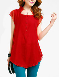 Women's Casual/Daily Plus Size / Street chic Summer Blouse,Solid Asymmetrical Short Sleeve Red / Black / Green Polyester Medium