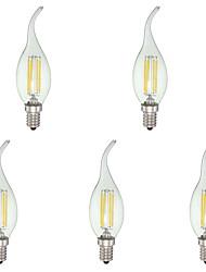 4W E12 Ampoules Bougies LED C35 4 COB 380 lm Blanc Froid Gradable AC 110-130 V 5 pièces