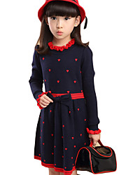 Girl's Casual/Daily Polka Dot DressCotton Winter / Spring / Fall Black / Blue / Red