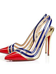 Feminino-Saltos-Conforto-Salto Agulha-Vermelho Dourado-PVC-Casamento Social