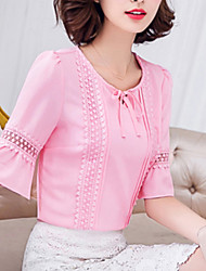 Women's Casual/Daily Simple / Street chic Summer Blouse,Solid Round Neck Short Sleeve Pink / White / Green Rayon / Polyester Thin