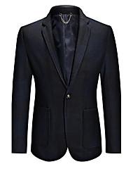 Men's Plaid Casual / Work / Formal / Plus Size BlazerWool / Acrylic / Polyester Long Sleeve Black