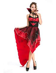 Fantasias Fantasma Dia Das Bruxas Vermelho Patchwork Terylene Vestido / Mais Acessórios