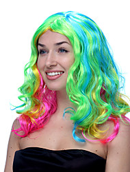 Rainbow Multicolor Blue Green Yellow and Pink Long Wavy Halloween Wigs Synthetic Wigs Costume Wigs