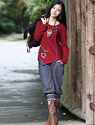 Mulheres Calças Moda de Rua Saruel Lã / Poliéster Sem Elasticidade Mulheres