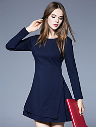 Boutique S Women's Formal Simple Sheath DressSolid Round Neck Above Knee Long Sleeve Blue Cotton / Polyester Spring