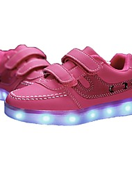 Girl's LED'S Shoes Sneakers Comfort / Flats Athletic / Casual Flat Heel Magic Tape / LED Black / Blue / Red / White