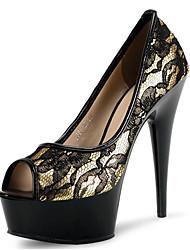 Mujer-Tacón Stiletto Plataforma-Plataforma Zapatos del club Light Up Zapatos-Tacones-Vestido Informal Fiesta y Noche-Vellón Materiales