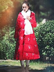 Manteau Rembourré Aux femmes Manches Longues Chinoiserie Lin / Polyester