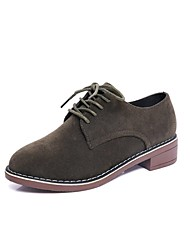 Women's Oxfords Summer / Fall Round Toe Synthetic Casual Low Heel Lace-up Black / Gray / Dark Green Others