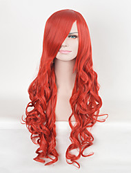 Red Color Women Synthetic Wigs Fashion Long Wave Cosplay  Wigs