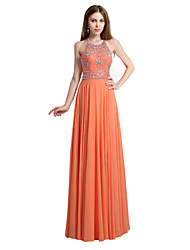 2017 vestido de noite formal bainha / coluna cabeçada chiffon até o chão com cristal detalhando / lantejoulas