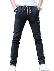 Men's Solid Casual / Work JeansCotton / Linen / Polyester Black ACD-918