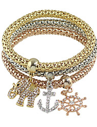 Multicolors Chain Rhinestone Anchor Elephant Charms Bracelets