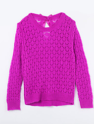 Girl's Casual/Daily Solid Sweater & Cardigan,Cotton Fall Purple