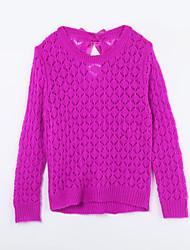 Mädchen Pullover & Cardigan-Lässig/Alltäglich einfarbig Baumwolle Herbst Lila
