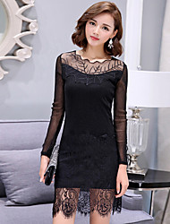 Women's Lace Plus Size / Going out / Casual/Daily Street chic Bodycon / Lace DressSolid Round Neck Above Knee Long Sleeve