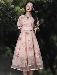Gaine Robe Femme Sortie Vintage,Fleur Col Arrondi Mi-long Manches Courtes Rose Rayonne / Polyester Eté Taille Haute Non Elastique Moyen