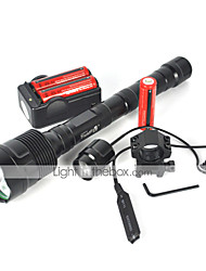 Tactical 6000LM 3X XM-L T6 LED 3T6 Flashlight Torch Light Mount Pressure Switch Full Set Of Battery Charger