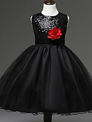 Ball Gown Knee-length Flower Girl Dress - Organza Sleeveless Jewel with Flower(s) / Sequins
