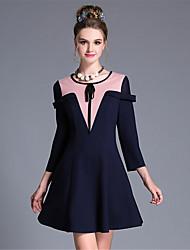 aufoli mulheres roupas tamanho grande forma simples geometria da curva do vintage bloco de cor 3 / vestido de manga